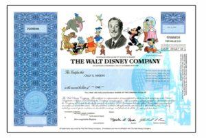 Disney, certyfikat będący repliką akcji