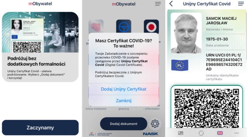 """Od dziś można """"zassać"""" UCC, czyli unijny certyfikat szczepienia przeciwko COVID-19, do apki mObywatel. Warto, bo ten QR kod pomaga na wakacjach"""
