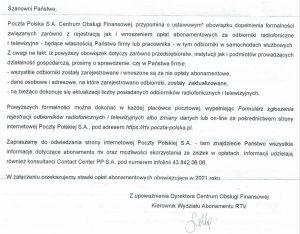 Pismo odPoczty Polskiej wsprawie abonamentu RTV